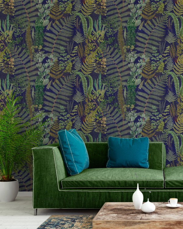 GREEN SANCTURAY Anthracite Wallpaper