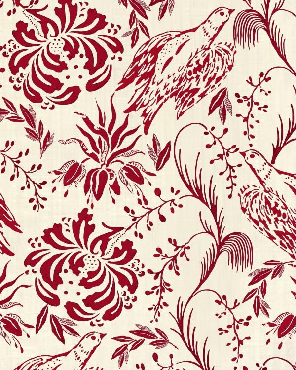 FOLK EMBROIDERY Crimson Wallpaper
