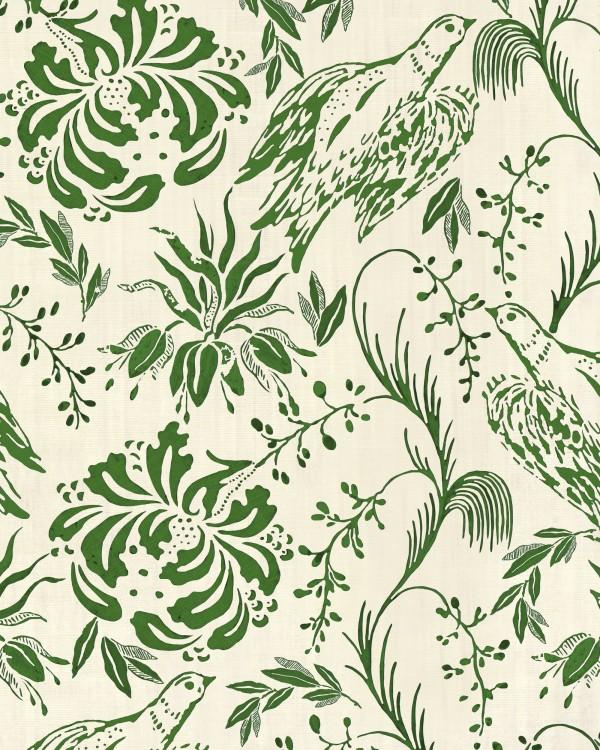 FOLK EMBROIDERY Fern Green Wallpaper