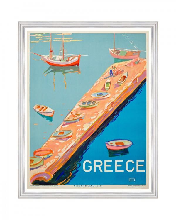 GREECE TRAVELS POSTERS - GREECE AEGEAN Framed Art