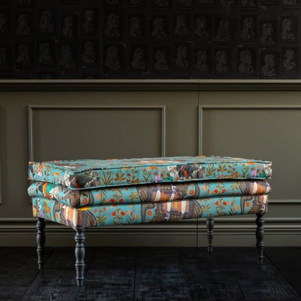 EDWARD Ottoman Bench - HINDUSTAN AQUAMARINE Linen