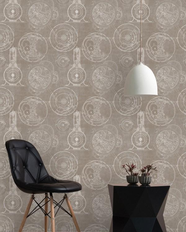 HORLOGERIE Taupe Premium Wallpaper