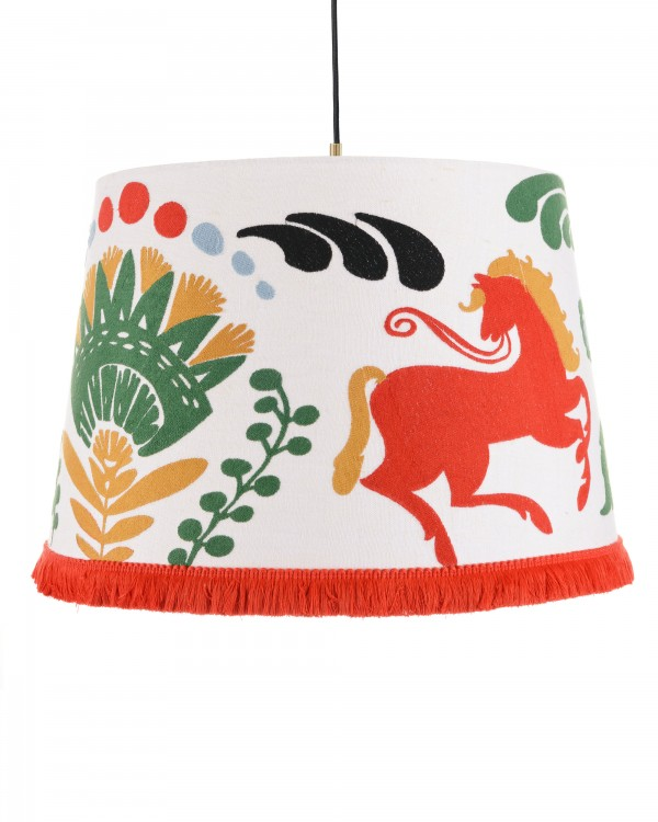 HORSE PARADE Embroidered Pendant Lamp