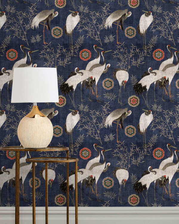 TSURU INDIGO Wallpaper
