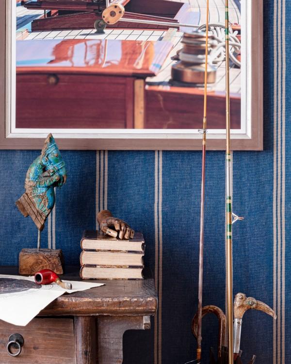 KATALIN STRIPE Seaport Blue Wallpaper