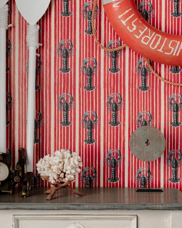 MEDITERRANEAN LOBSTERS Red Wallpaper