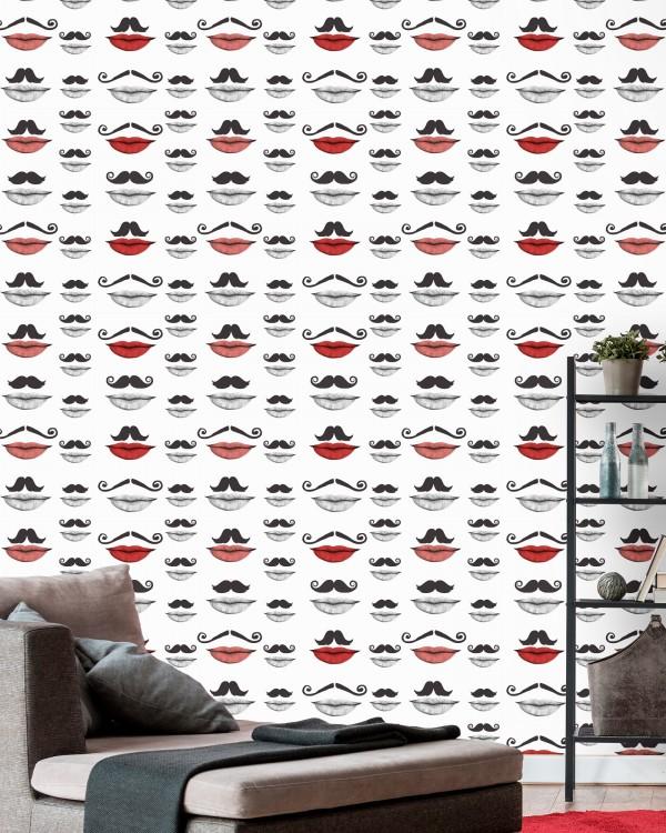 MOUSTACHE AND LIPS Premium Wallpaper