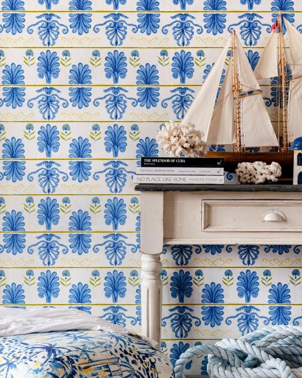 MYKONOS VILLA MOTIF White Sand Wallpaper