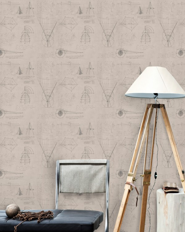 NEWTON GEOMETRY Taupe Premium Wallpaper