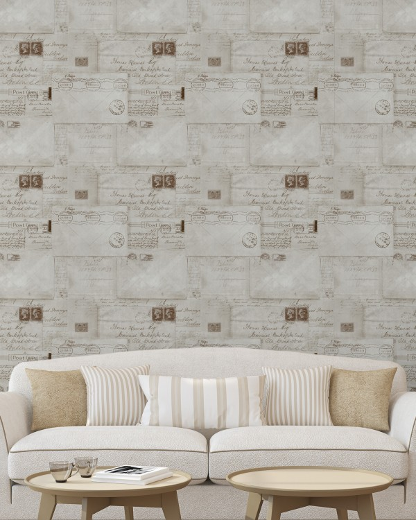 VINTAGE LETTERS Neutral Premium Wallpaper
