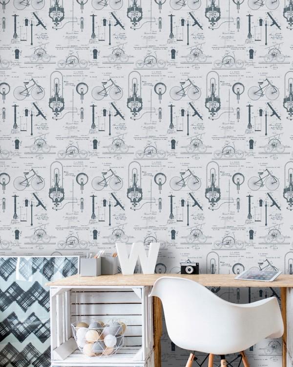 PATENTS Grey Premium Wallpaper