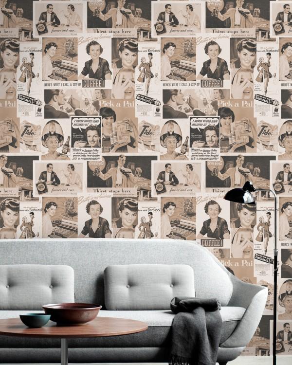 RETRO ADS SEPIA Premium Wallpaper