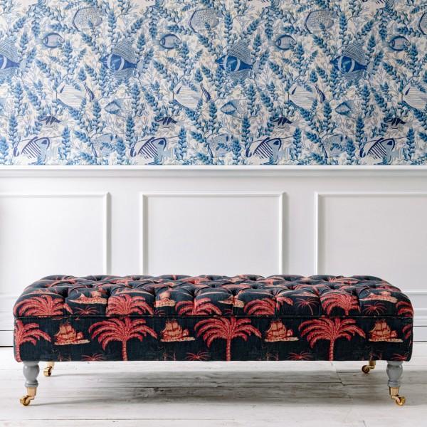 SARAY Ottoman - AEGEAN Indigo Fabric