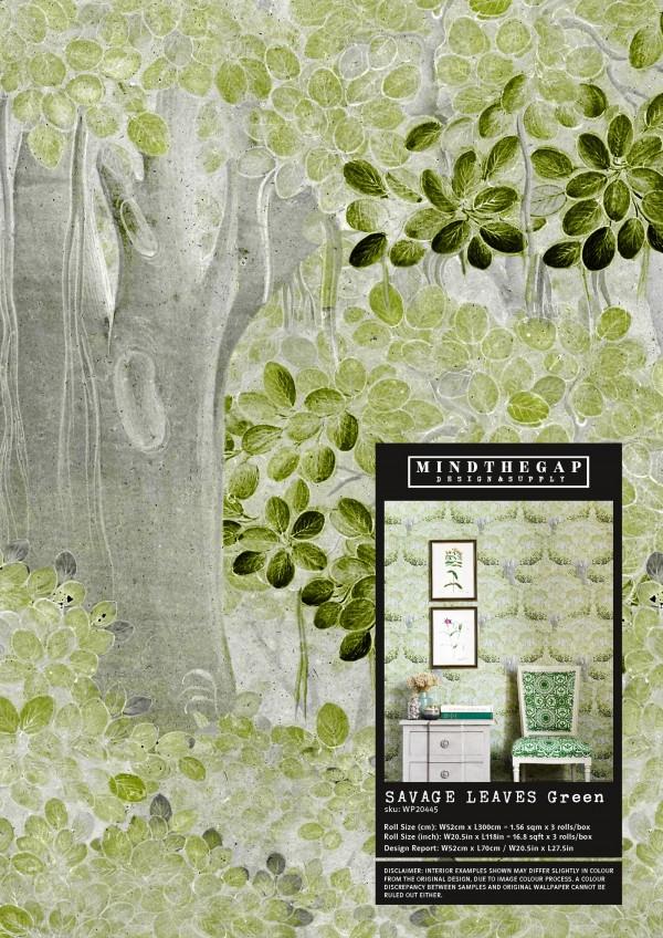 SAVAGE LEAVES Green Wallpaper Sample
