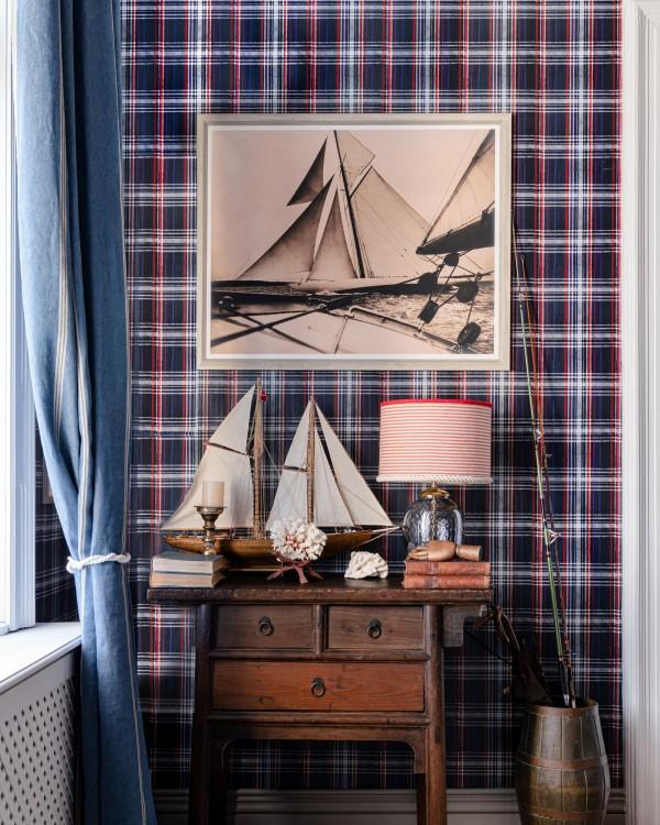 SEAPORT PLAID Navy Blue Wallpaper