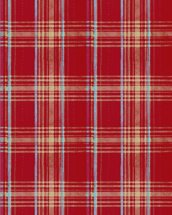SEAPORT PLAID Red Wallpaper