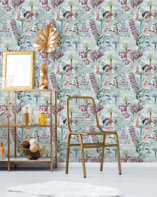 GARDEN OF EDEN Aquamarine Wallpaper