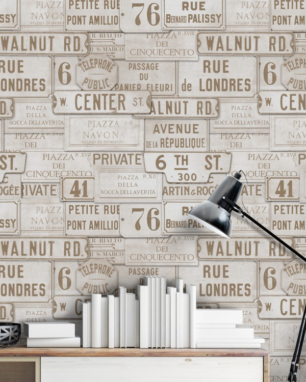 VINTAGE SIGNS Premium Wallpaper