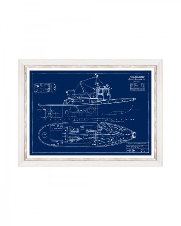 TUGBOATS BLUE PRINTS I Framed Art