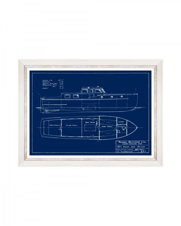 TUGBOATS BLUE PRINTS III Framed Art