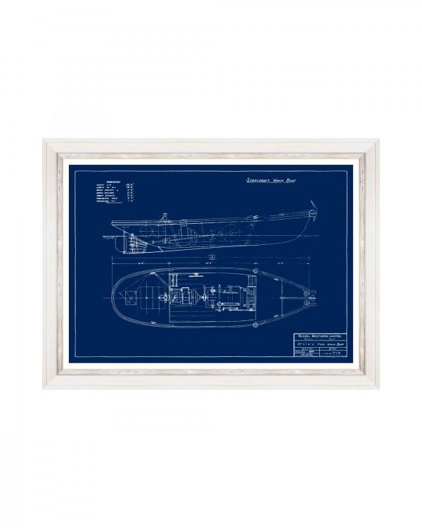 TUGBOATS BLUE PRINTS IV Framed Art
