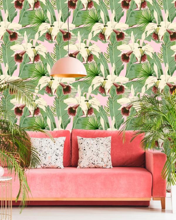 TREASURE ISLAND Pink Wallpaper