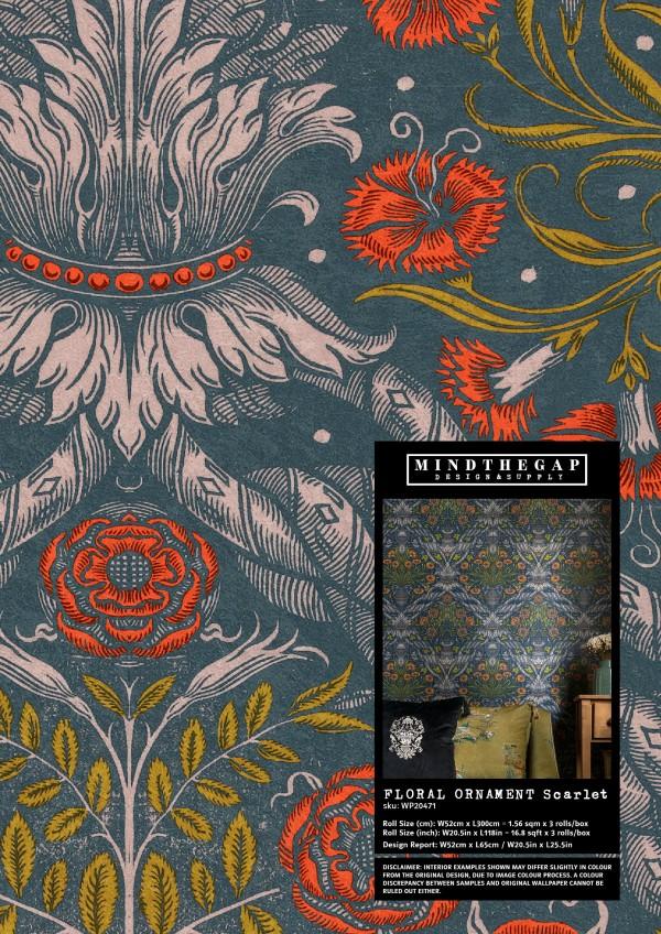 FLORAL ORNAMENT Scarlet - Wallpaper Sample