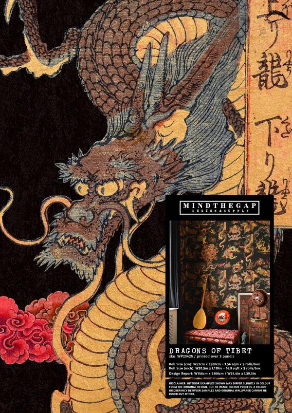 DRAGONS OF TIBET - Wallpaper Sample