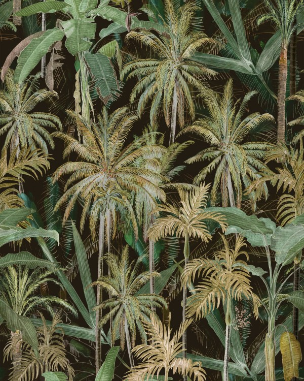 THE JUNGLE Anthracite Wallpaper