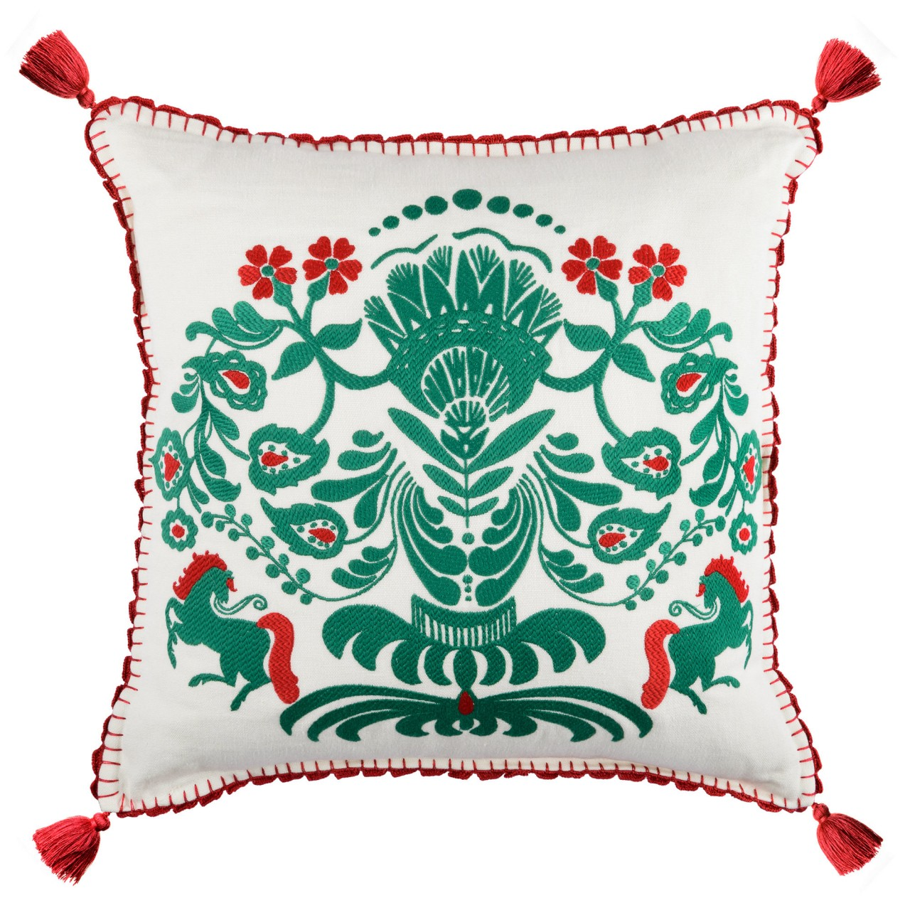 HORSE PARADE Linen Embroidered Cushion