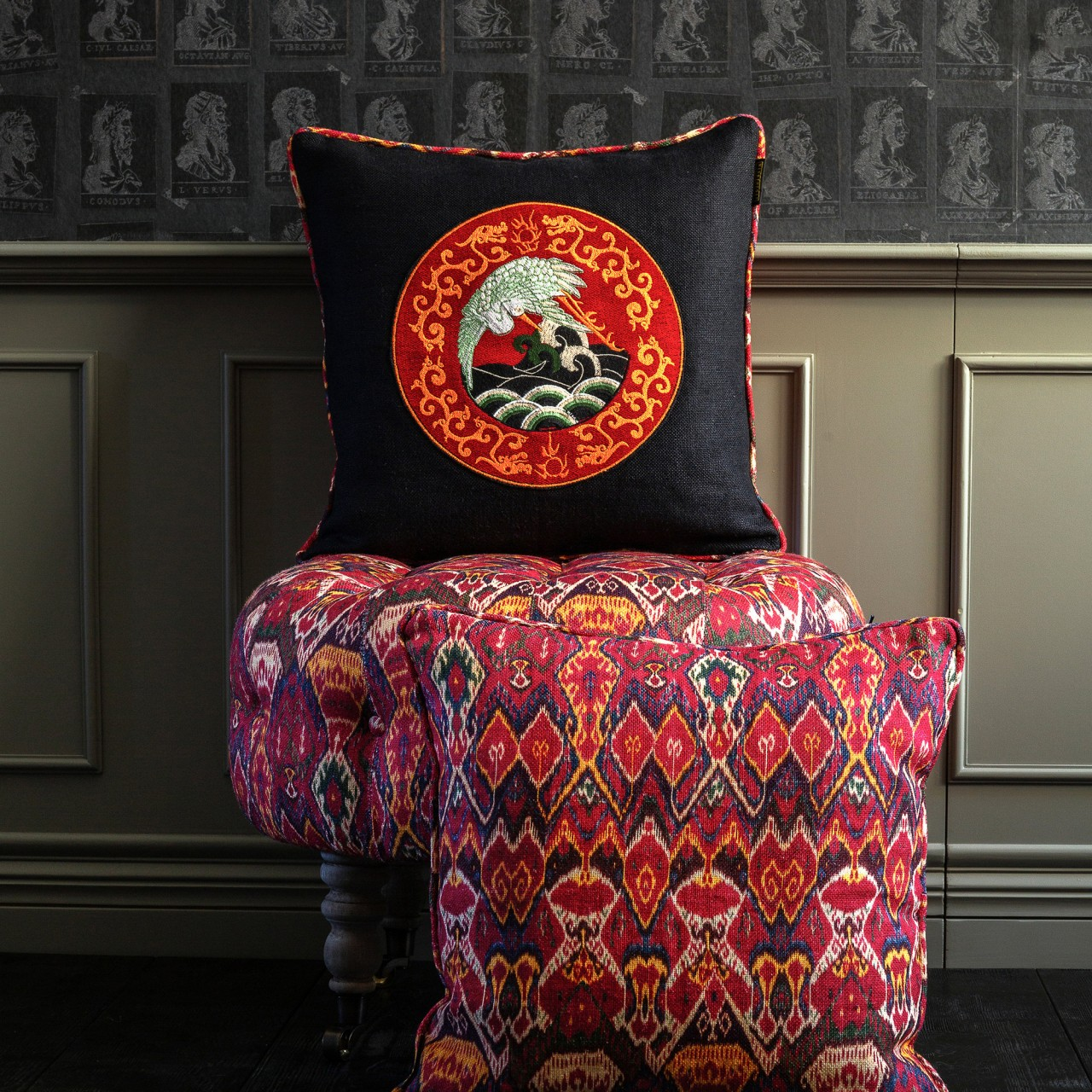 ASIAN CRANE Linen Embroidered Cushion