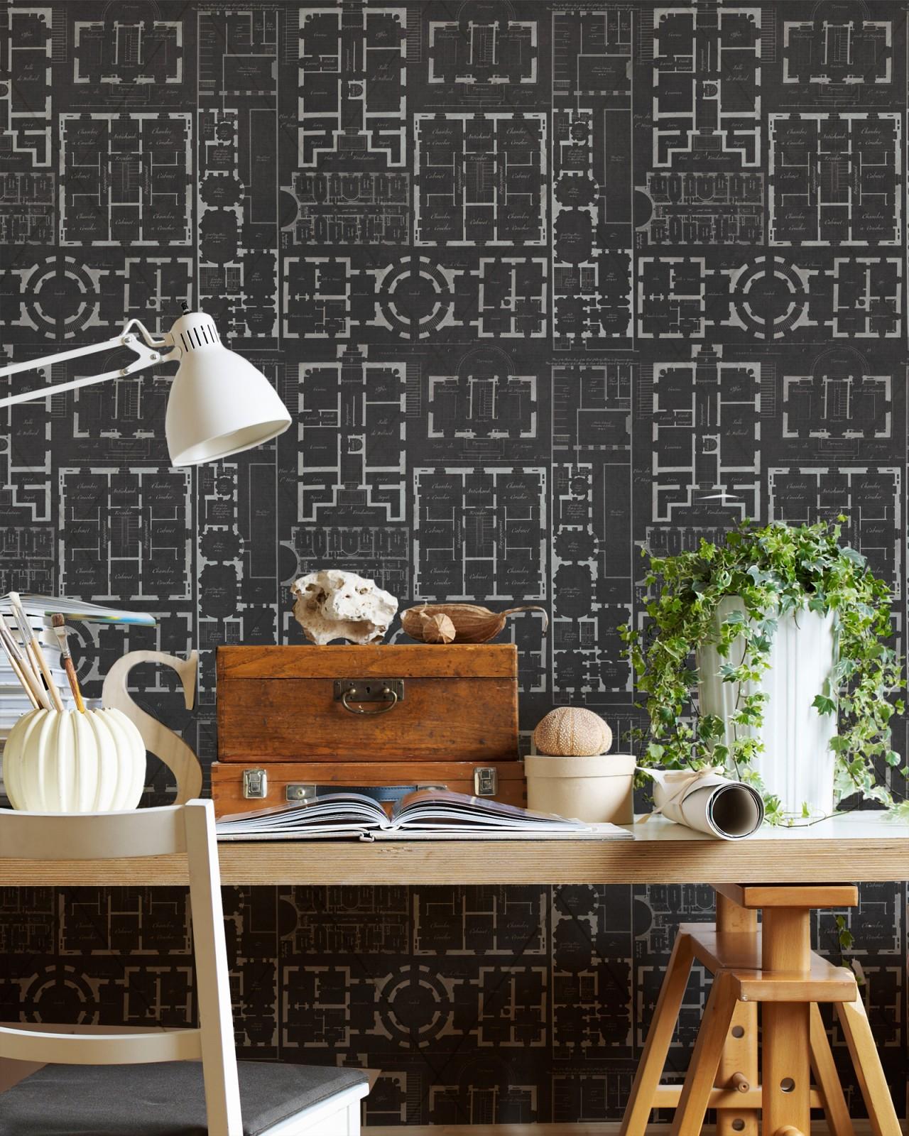 CHATEAU Anthracite Premium Wallpaper