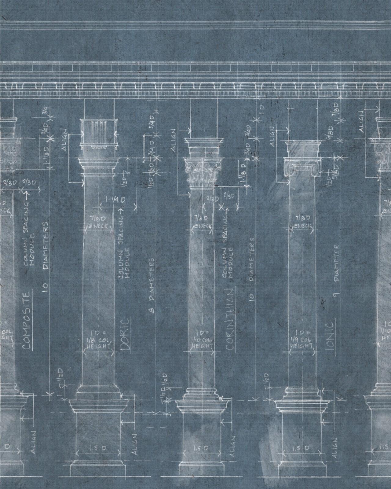 COLONNADE Blue Premium Wallpaper