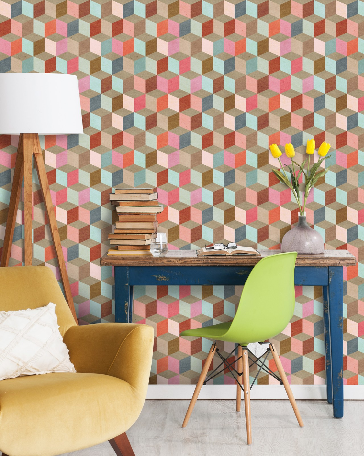 COLOURED GEOMETRY Premium Wallpaper