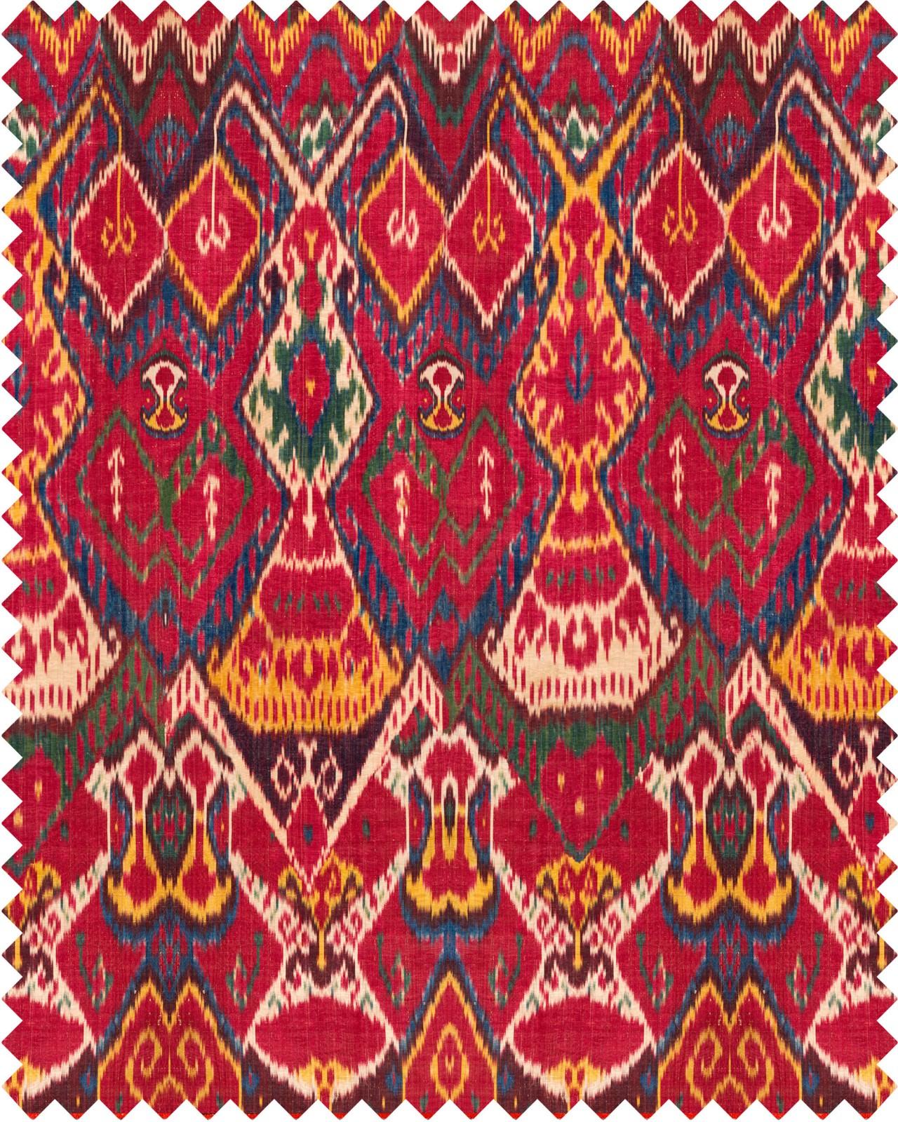 UZBEK IKAT Linen Fabric Sample