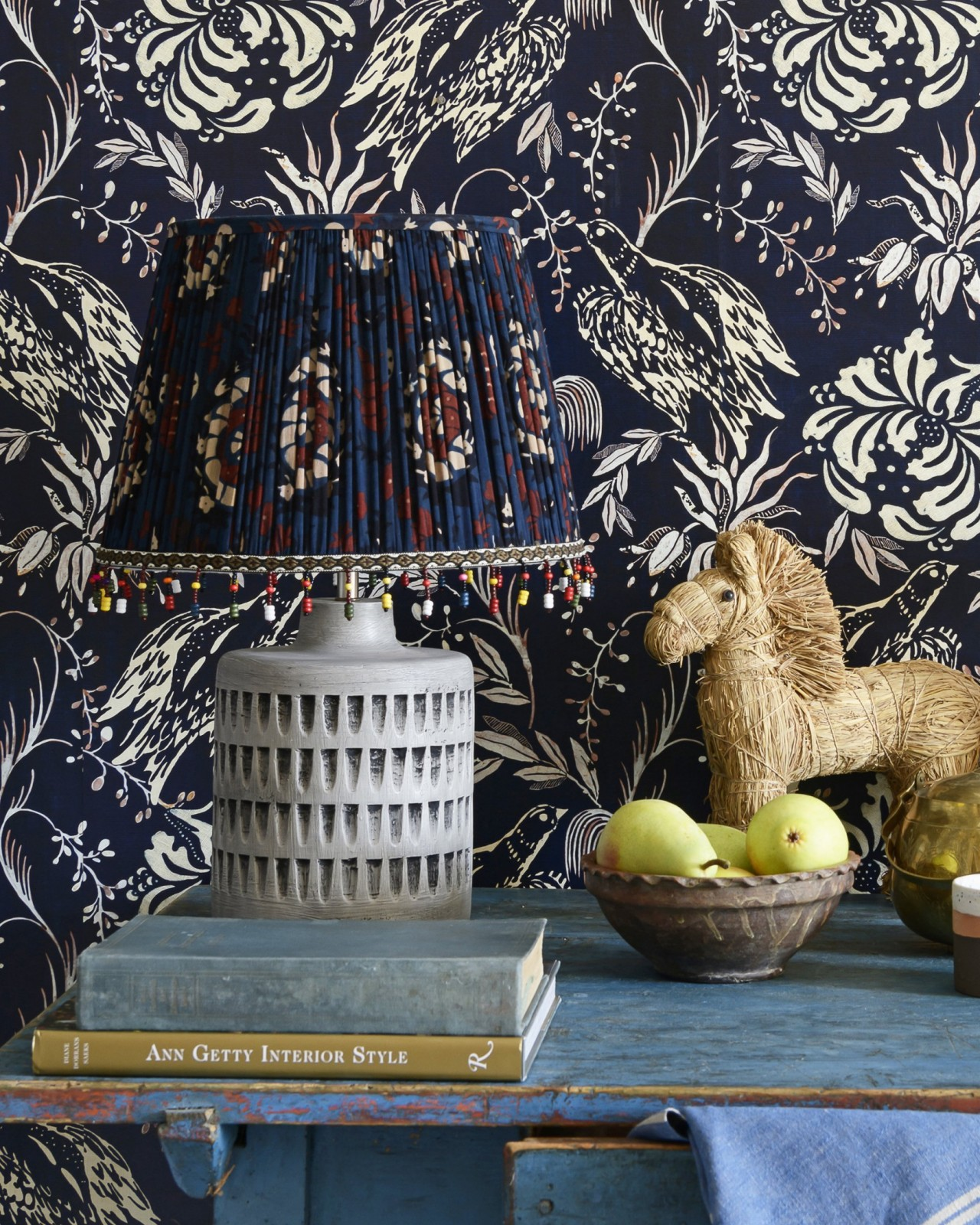 FLOURISH BLUE Pleated Lampshade