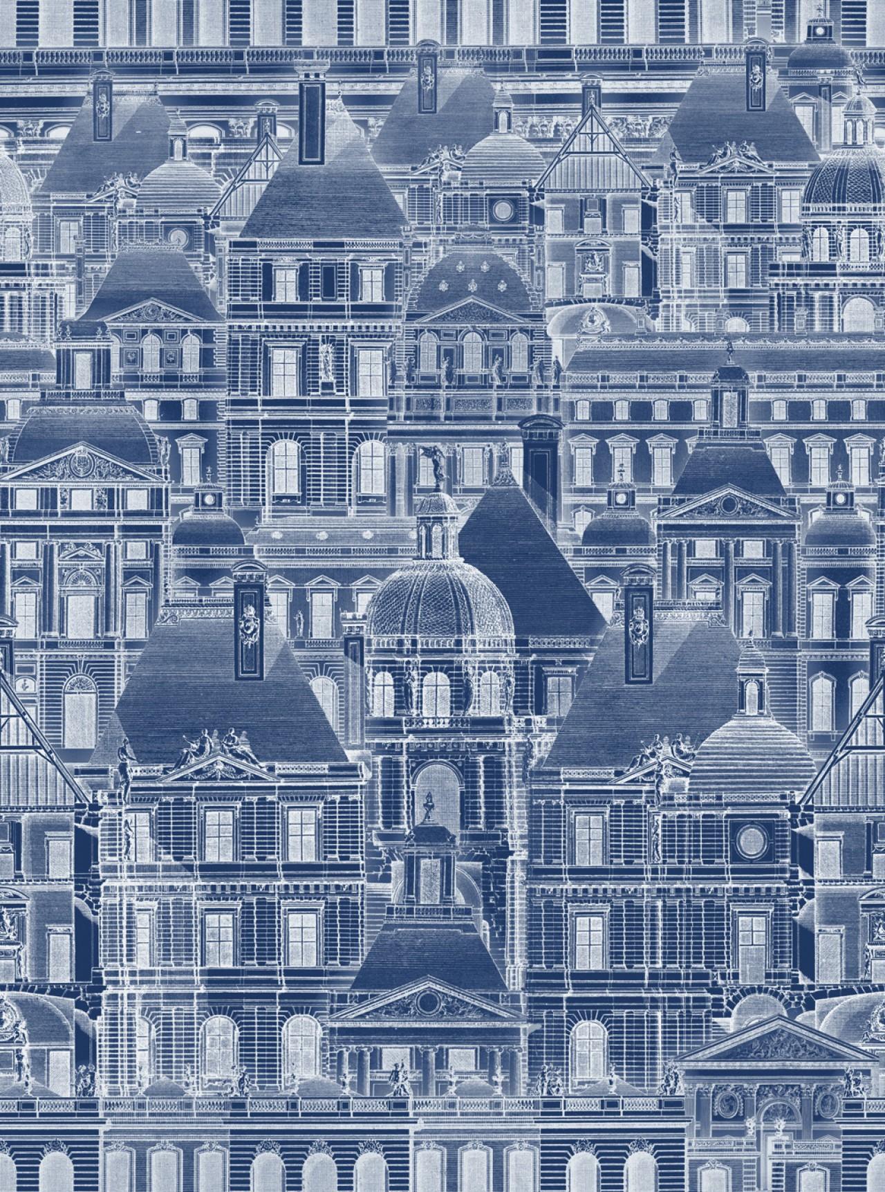 LOUVRE Blue Premium Wallpaper
