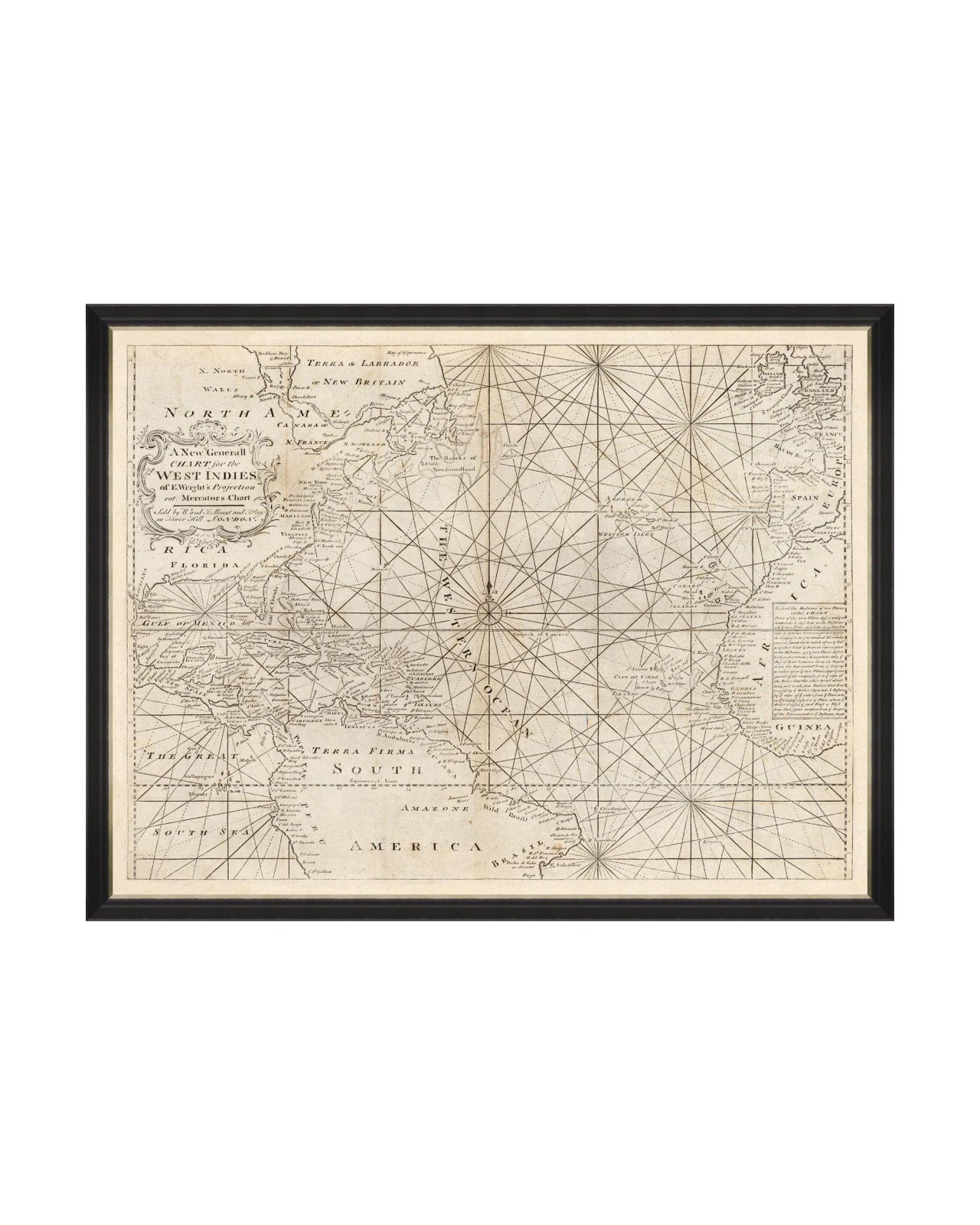 MAP OF WEST INDIES 1716 Framed Art