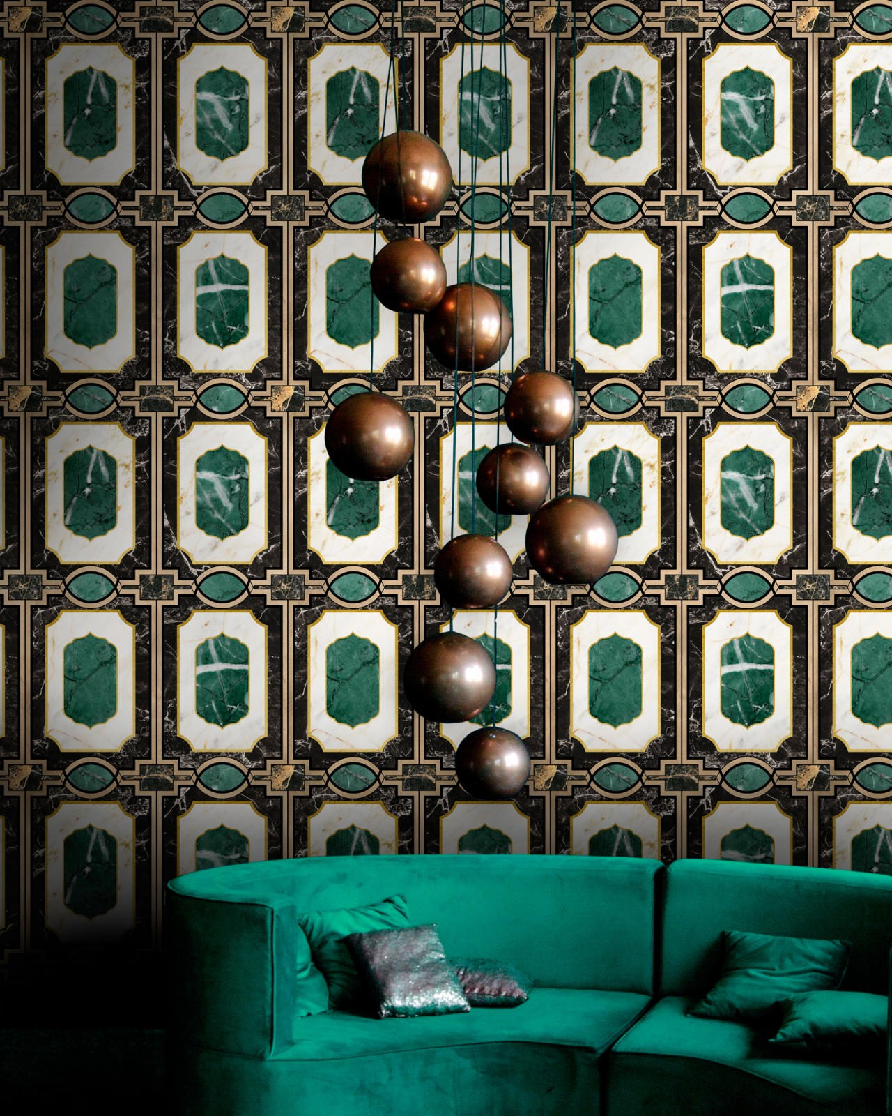 WALDORF Emerald Wallpaper