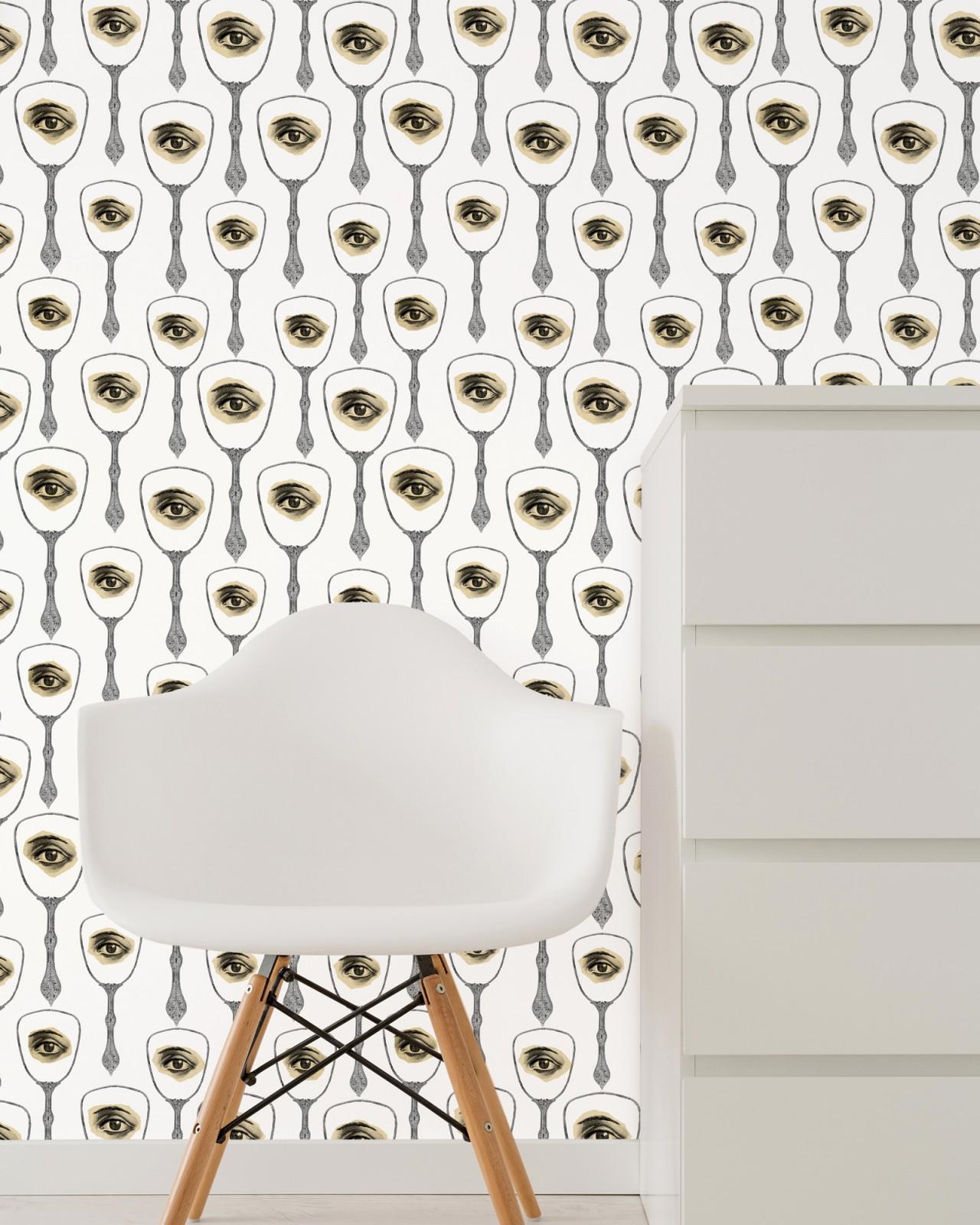 MIRROR'S EYE Neutral Premium Wallpaper