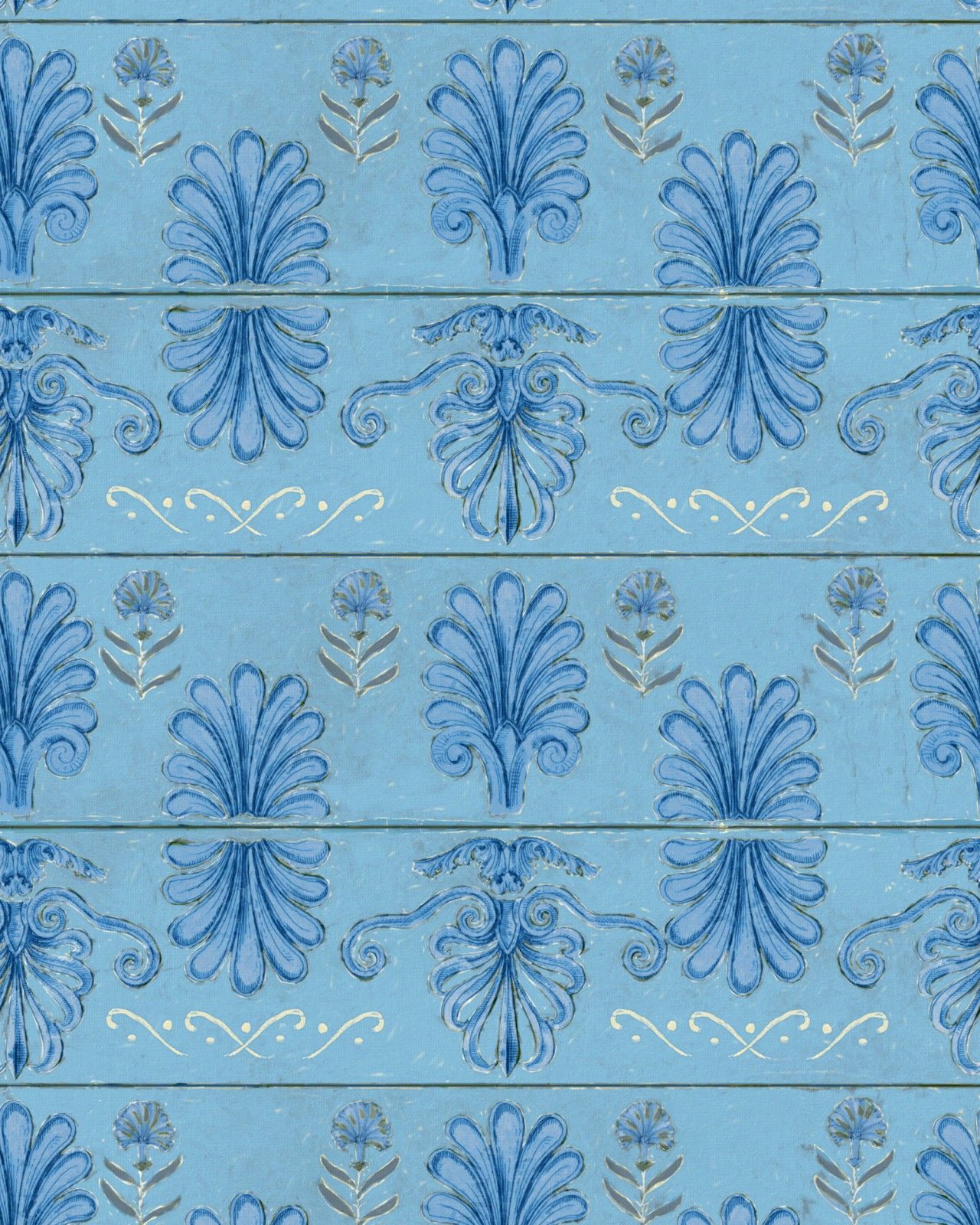 MYKONOS VILLA MOTIF Azure Wallpaper