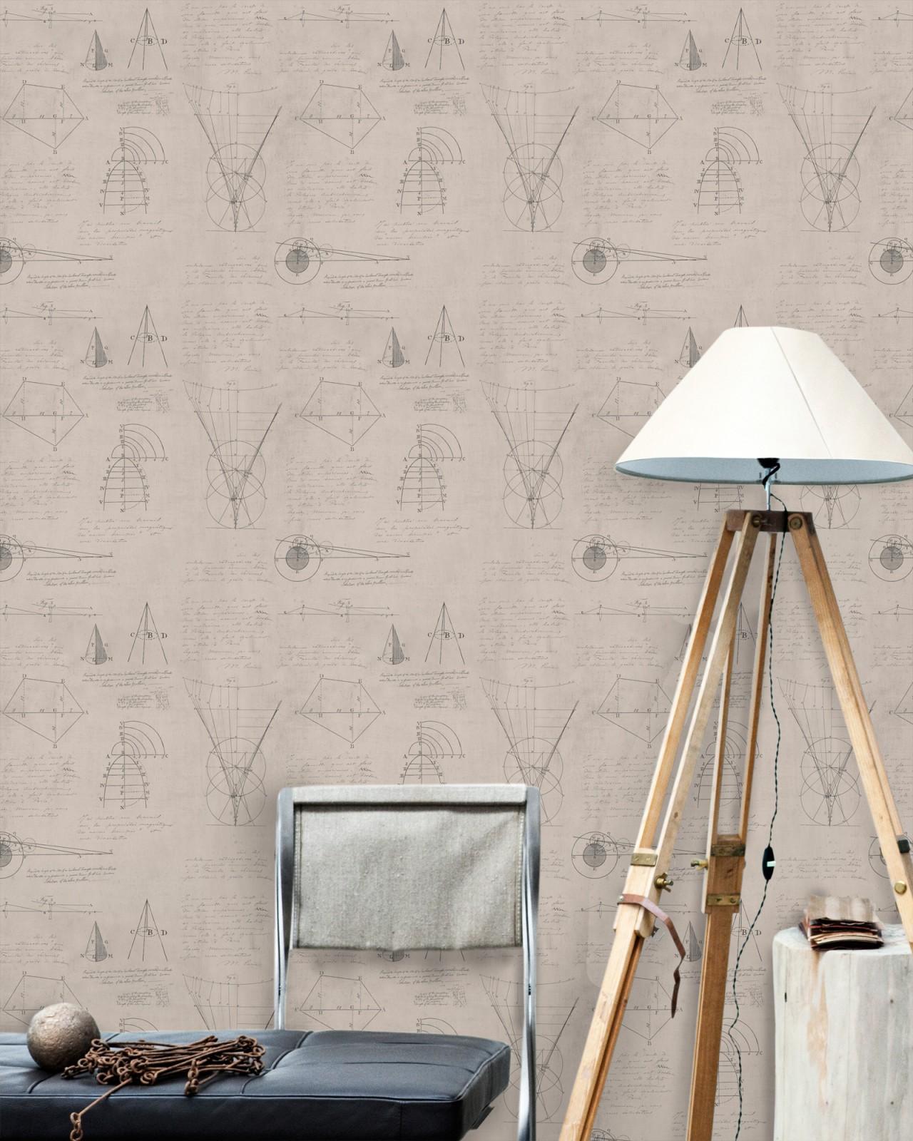 NEWTON GEOMETRY Taupe Premium Wallpaper