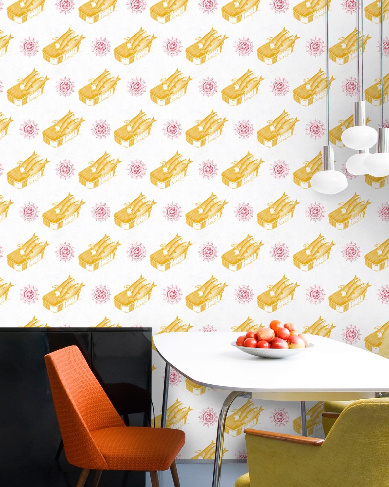 SARDINES Yellow Premium Wallpaper