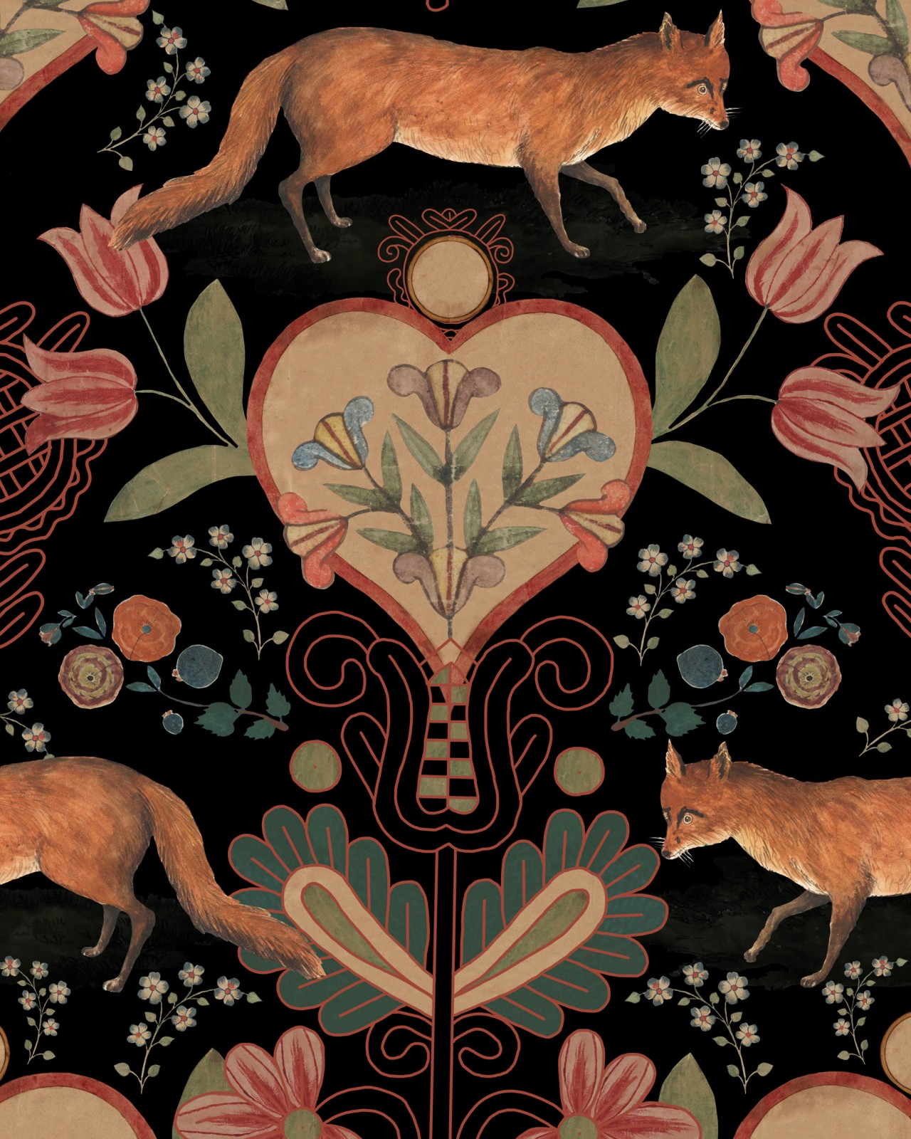 THE VIXEN Anthracite Wallpaper