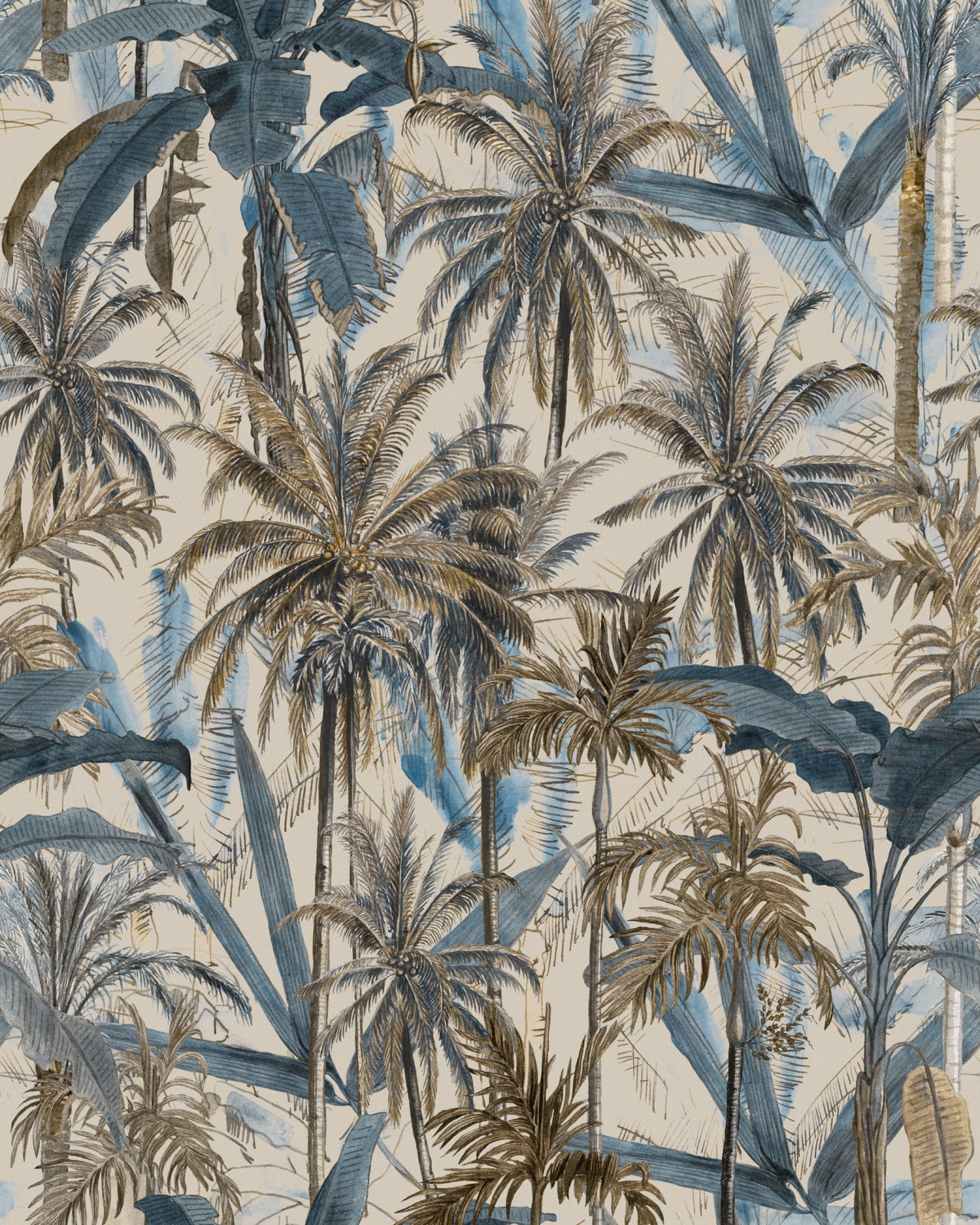 THE JUNGLE Smoke Blue Wallpaper