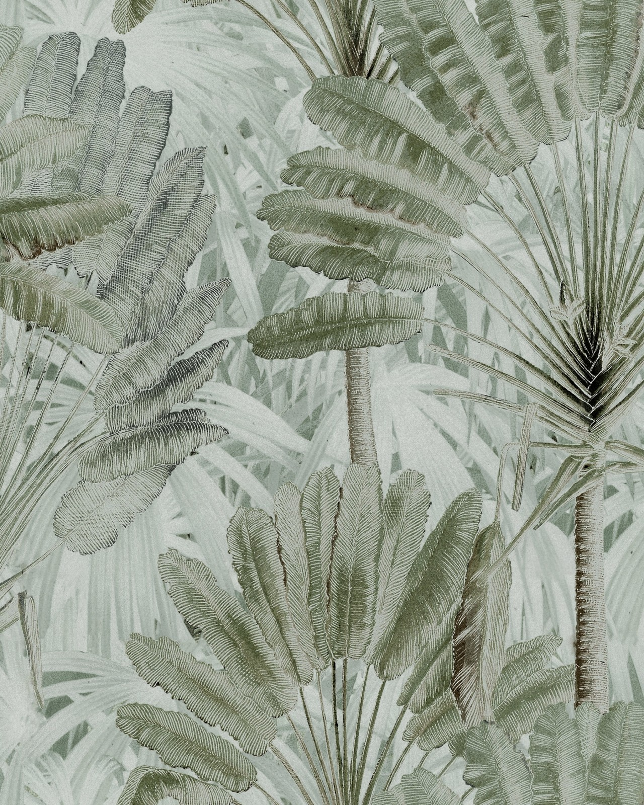 TRAVELLER'S PALM Neutral Wallpaper